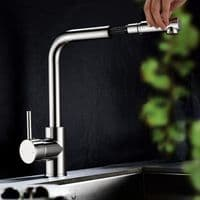 Jupiter Deck Mounted Single Lever Mono Pull Out Kitchen Mixer Tap KTA007